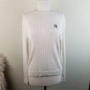 Lady Vesi NY Logo Silk Blend Cable Knit Sweater Lg